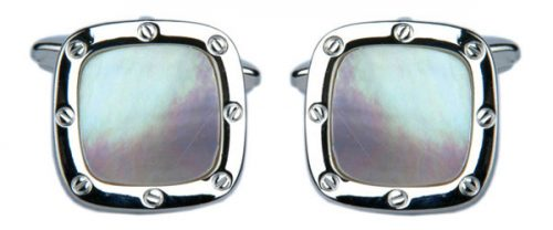 Mother of Pearl Port Hole Rhodium Plate Cushion Cufflinks