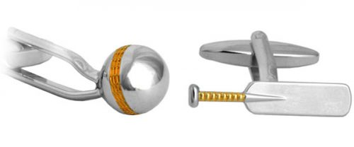 Cricket Bat & Ball Gold and Rhodium plate Cufflinks
