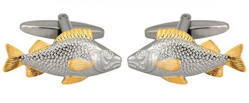 Fish 2-Tone Rhodium and Gold Plated Cufflinks