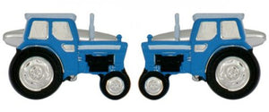 Blue Tractor Rhodium Plated Cufflinks