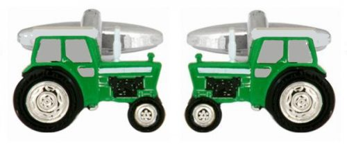 Green Tractor Rhodium Plated Cufflinks