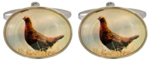 Grouse Image Oval Rhodium Plated Cufflinks