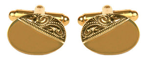 Oval Third Engraved Design Gold Plated Cufflinks