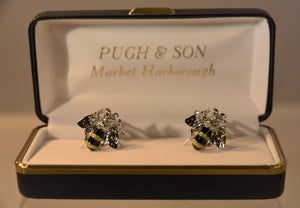 Bee Rhodium Plated Cufflinks