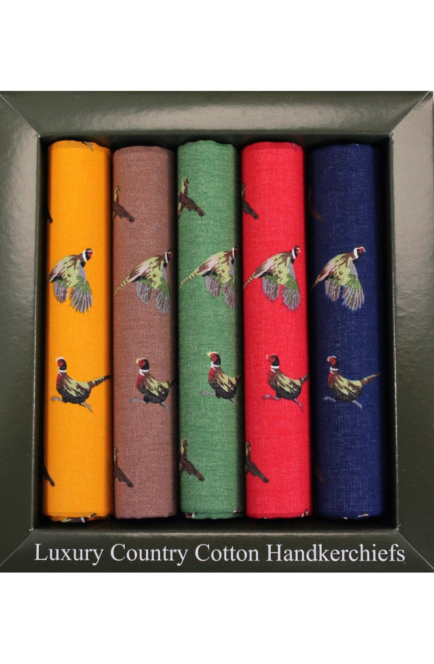 Cotton Pheasant Hankies Set of 5