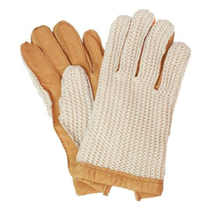 Mens Leather driving gloves with crochet back.