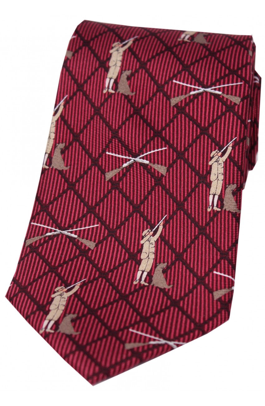 Country Hunter and Lab Wine Silk Tie