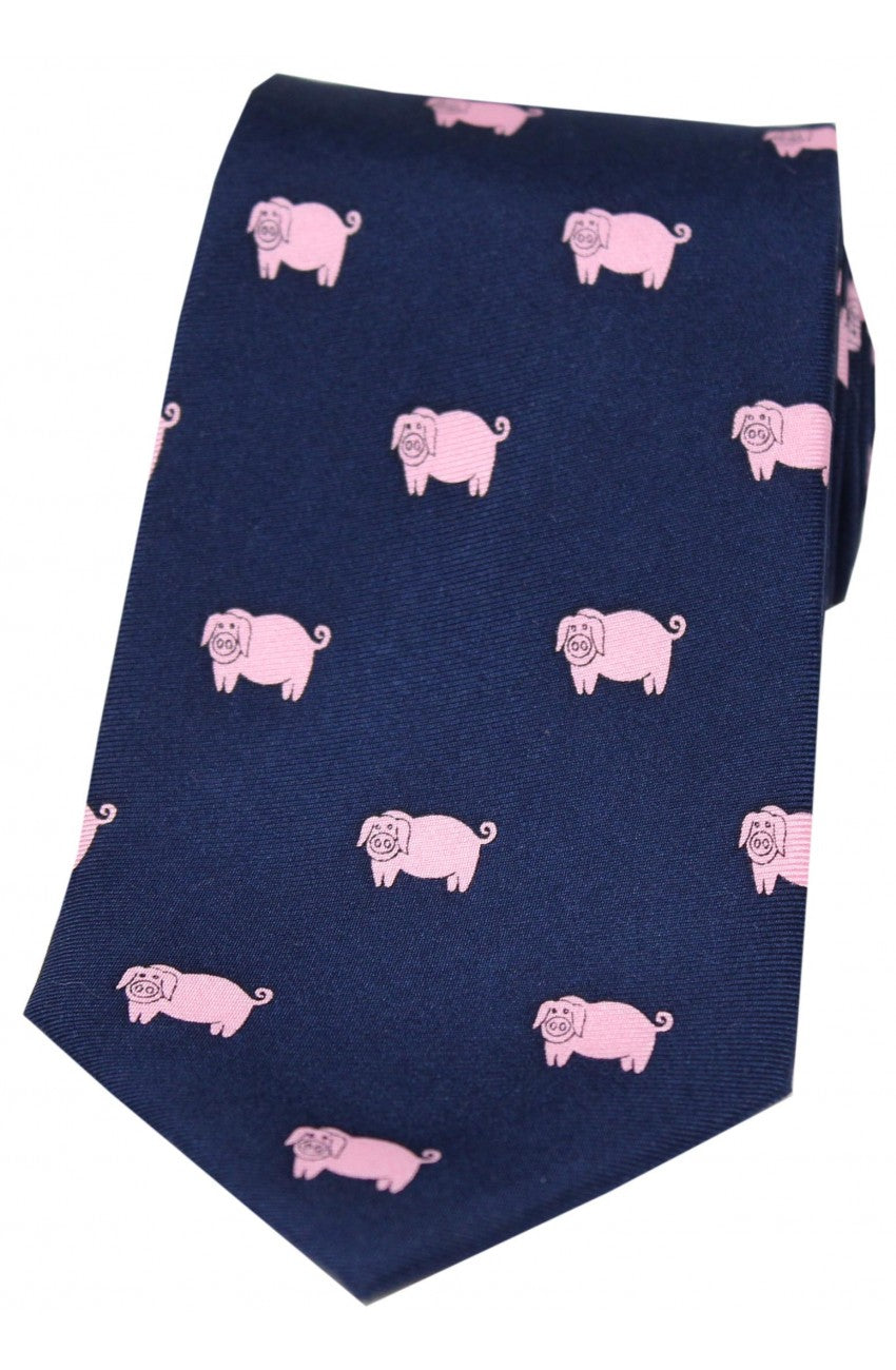 Country Pink Pigs on Navy Silk Tie