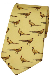 Country Standing Pheasants on Yellow Silk Tie