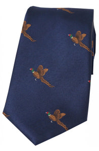 Country Flying Pheasant Navy Silk Tie