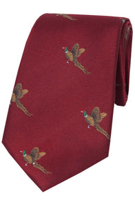 Country Flying Pheasants on Wine Silk Tie