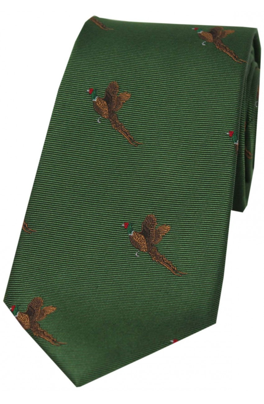 Country Flying Pheasants on Dark Green Silk Tie