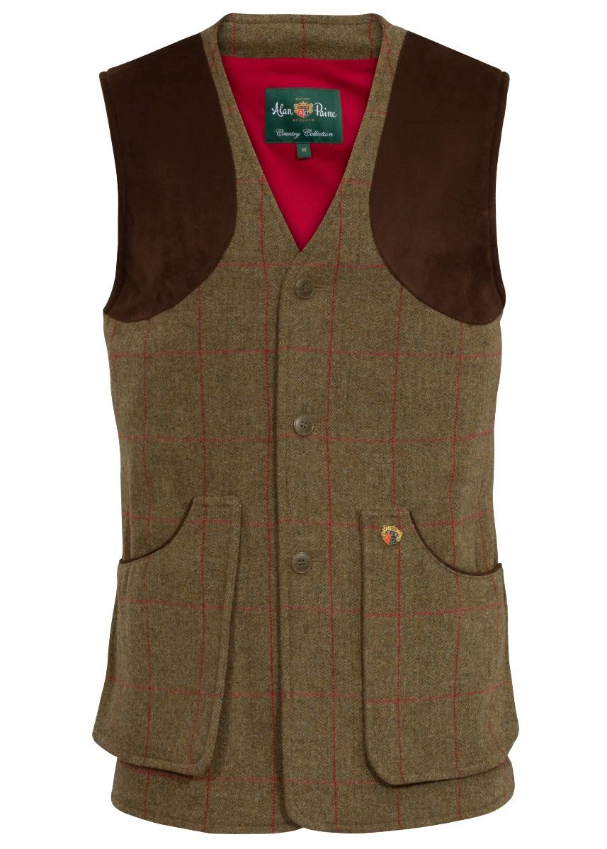 Alan Paine Combrook Mens Tweed Shooting Waistcoat