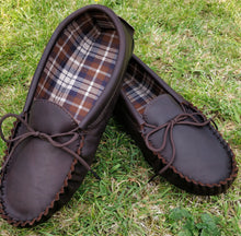 Load image into Gallery viewer, Mens Leather Moccasin Slippers With Cotton Lining