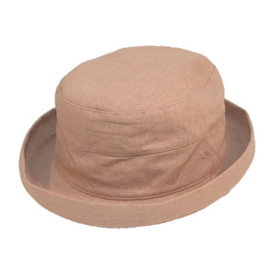 Women's Linen Sun Hat With Turn-Up Brim - Natural Colours