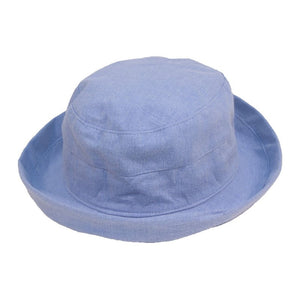 Women's Linen Sun Hat With Turn-Up Brim