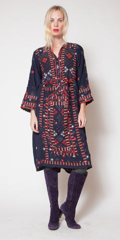 Black Embriodered Mirrored Afghani Dress