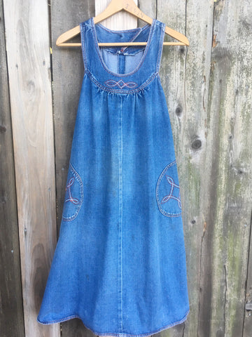 Vintage Denim Adorable 1970s Dress