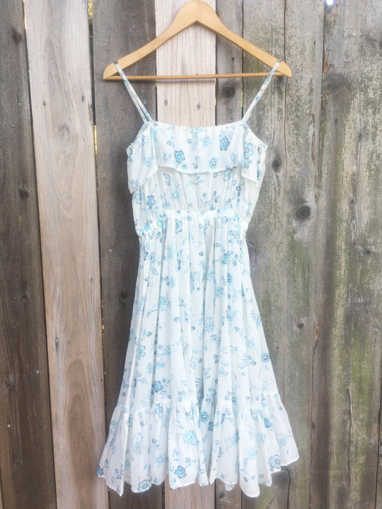 Blue and White Cotton Floral Sundress