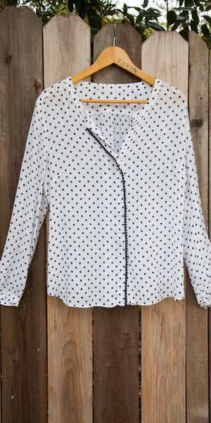 White and Blue Cotton Blouse