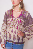Indian Cream and Purple Blouse