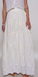 White Cotton Embroidered Long Skirt