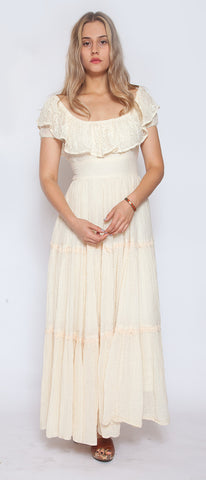 Cream and Lace Cotton Long Vintage Dress