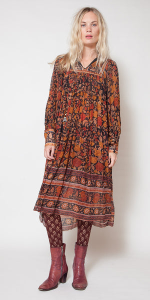Brown Floral Silk Indian Dress