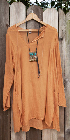 Dosa Light Brown Cotton Tunic Dress