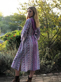 1970s Purple Floral Indian PEACE  Dress