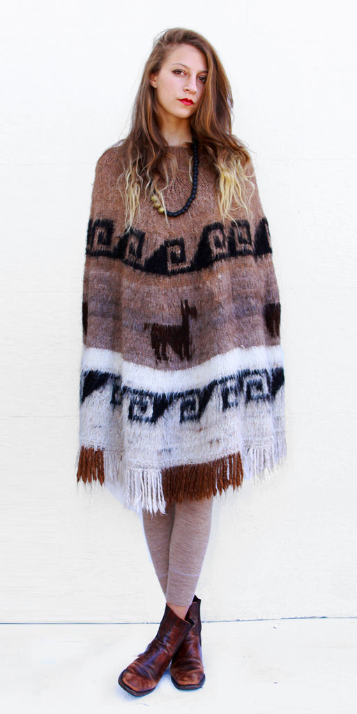 Peruvian Light Brown Vintage Perfect Poncho