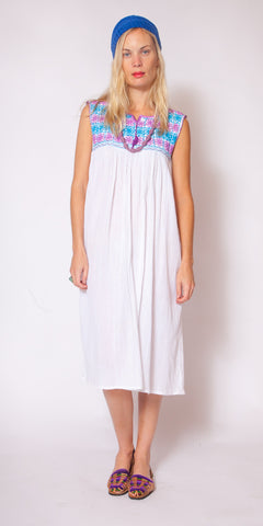Long White, Blue, and Violet Oaxacan Dress