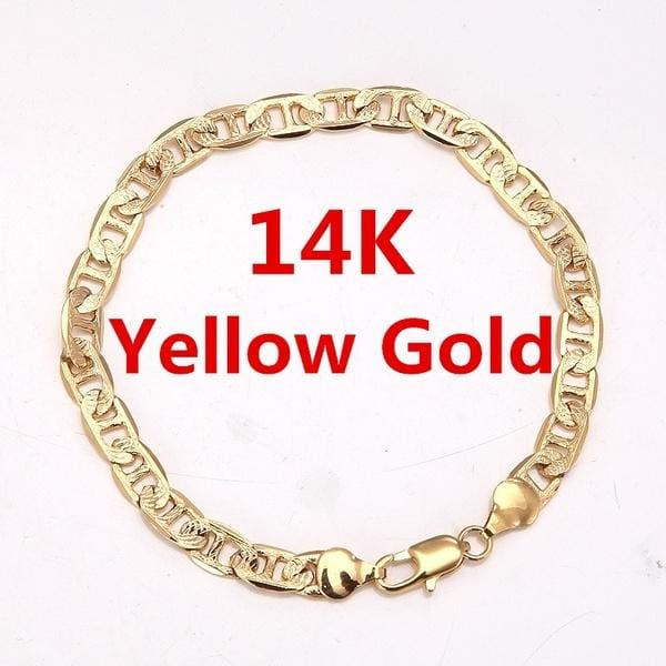 Brilliant Bijou 14k Yellow Gold Oval ID Figaro Bracelet 8 inches