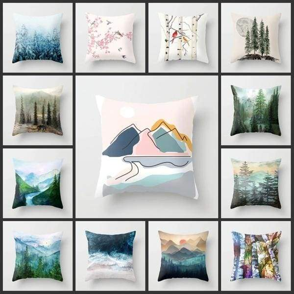 how to use decorative pillows 18 inches pillow cover forest landscape printed pillowcase how to use throw pillows on a bed 18 inches pillow cover forest landscape