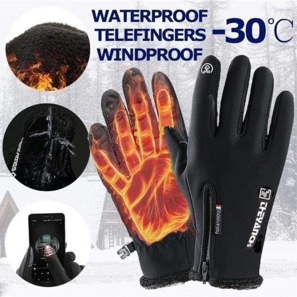Mens Winter Riding Plus Velvet Thick Warm Driving Outdoor Windproof Cold Mens Cotton Gloves Protect your hands