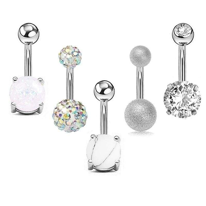 Jeweled Fancy Cross with Heart Gem Dangling 925 Sterling Silver Belly-Navel Ring Body Jewelry