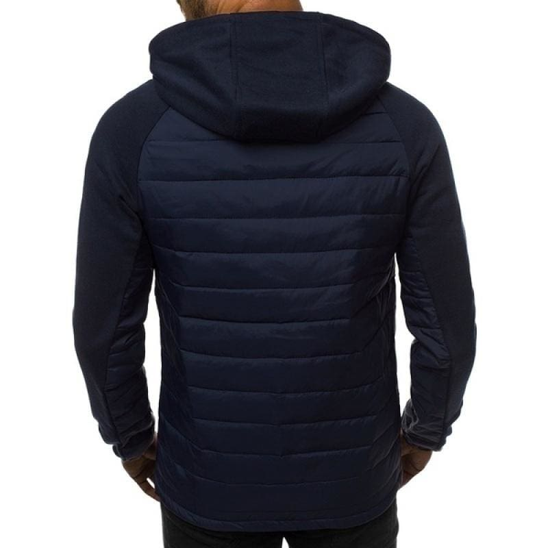 YYear Mens Winter Rhombus Casual Warm Thicken Hooded Quilted Coat Jacket Outwear