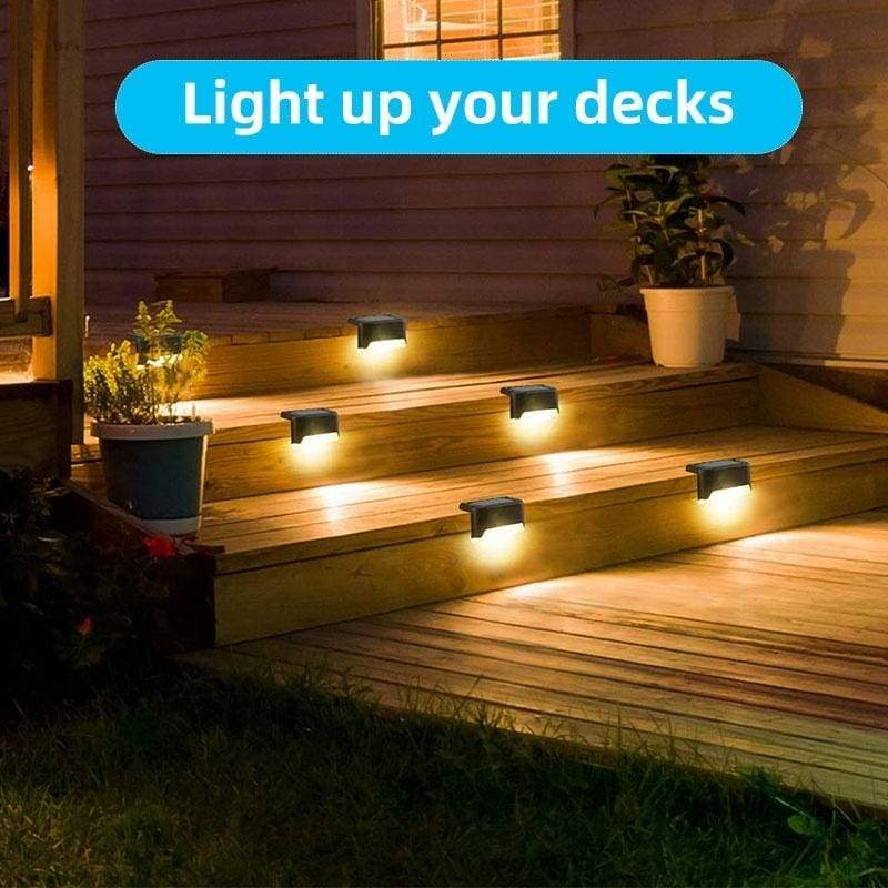4//12Pcs Solar LED Stairs Light IP65 Waterproof Outdoor Pathway Steps Fence Lamp