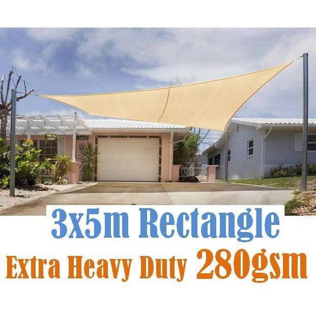 Auckland Outdoor Furniture 280GSM HDPE SHADE SAIL 3X5M SAND