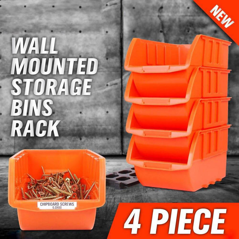 STORAGE WALL RACK 4 BIN - Local Kiwi Deals