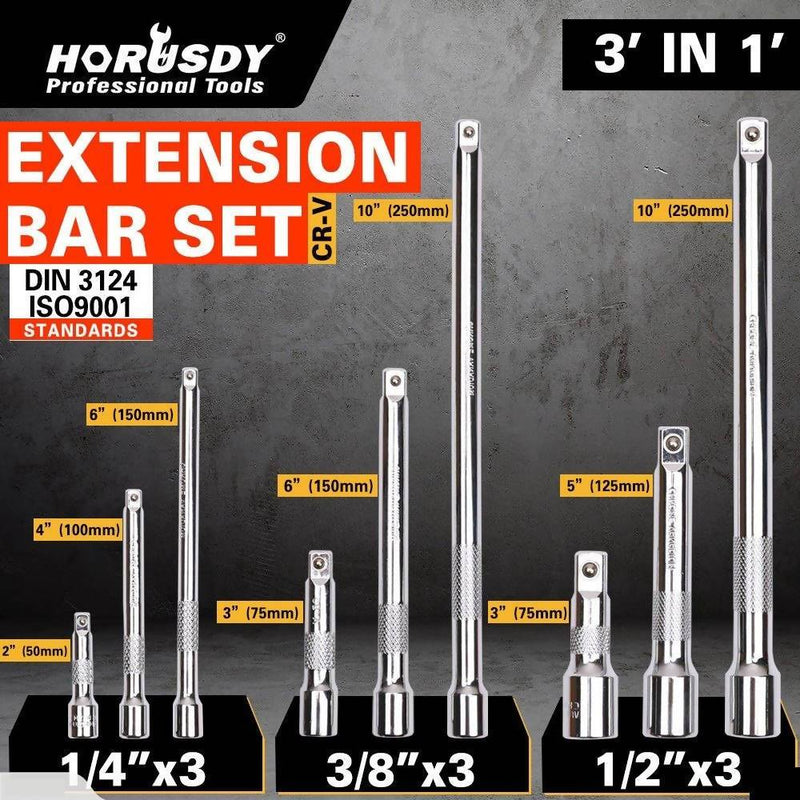 Extension Bar Set 1/4″ 3/8″ 1/2″ Drive 9Pc - Local Kiwi Deals