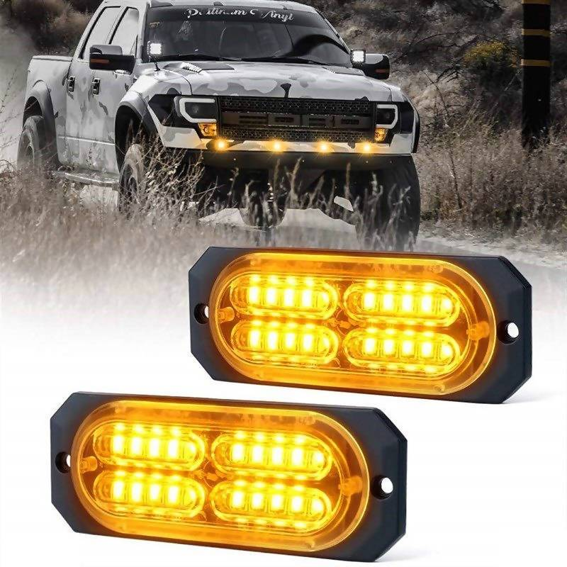 2PCS × 20-LED Super Bright Amber Emergency Warning Strobe Light Bar DC12V-24V - Local Kiwi Deals