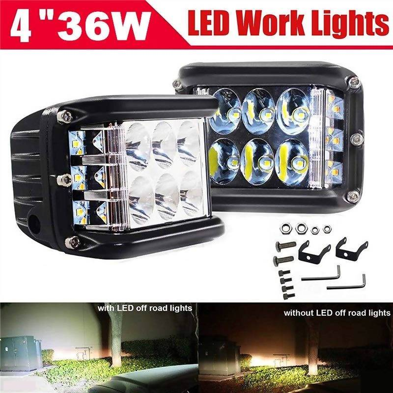 4 Inch 36W Side Shooter LED Pod Work Lights Spot Lights - Local Kiwi Deals
