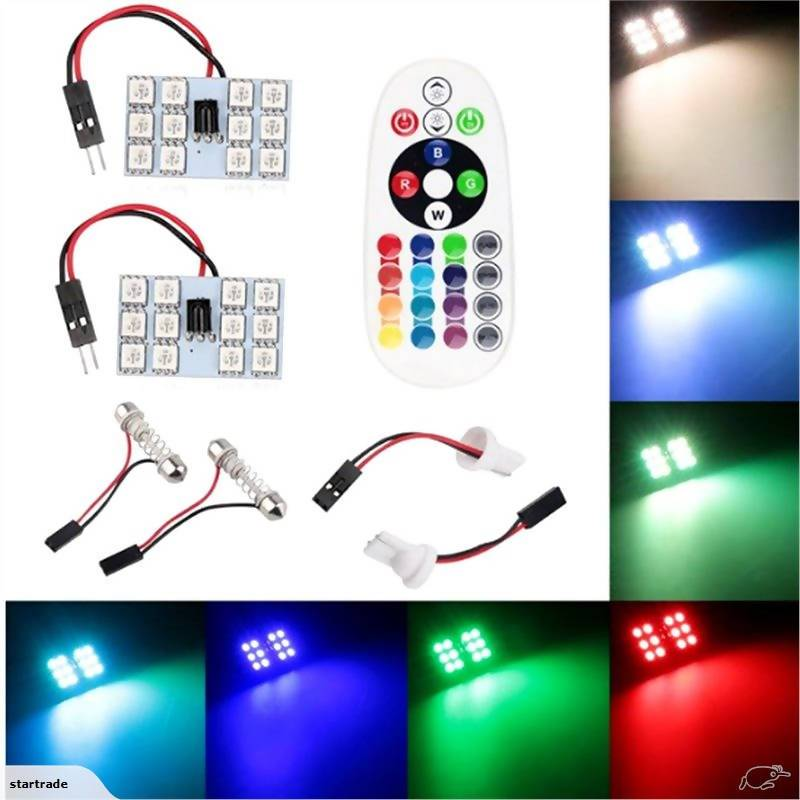 Pack of 2pcs Car Remote Control RGB LED Car Dome Reading Light/Car Roof Light - Local Kiwi Deals