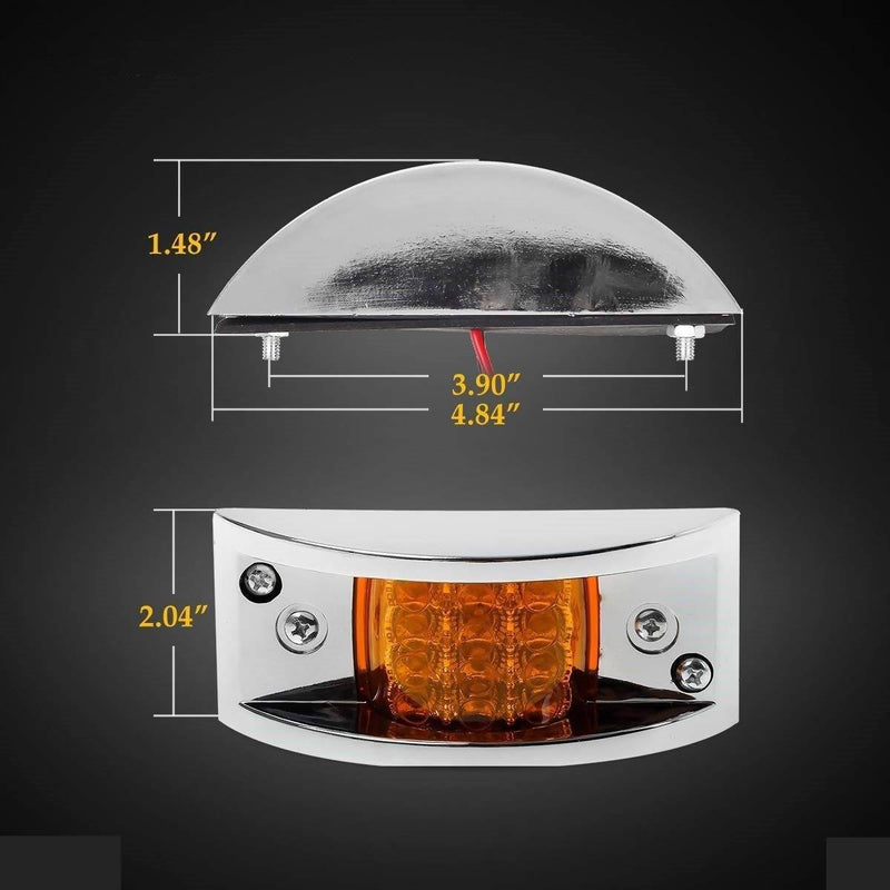 Truck Trailer Amber 12 LED Chrome Plated Led MarkerClearance Running Lights - Local Kiwi Deals