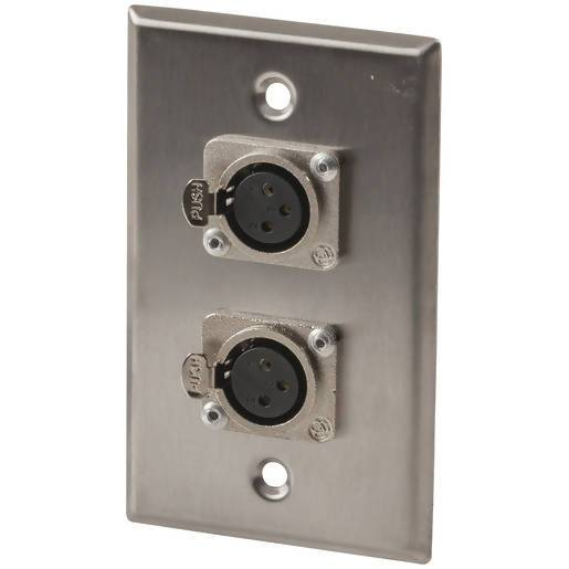 Stainless Steel Wall Plate Dual XLR Skt - Local Kiwi Deals