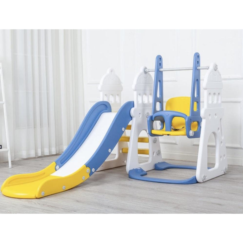 Local Kiwi Deals Kids BABY CASTLE SHAPED WING SLIDE 3 IN 1 BLUE YELLOW