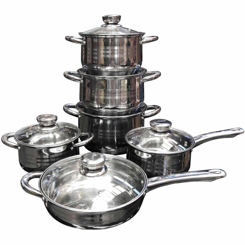Cookware Set Stainless Steel 12pcs - Local Kiwi Deals