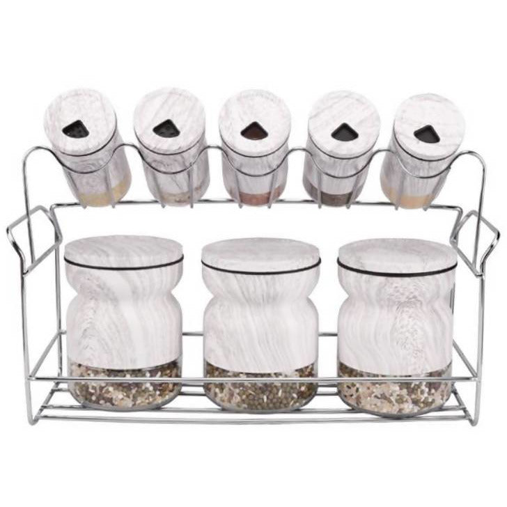 Spice Rack Stand White 8pc - Local Kiwi Deals
