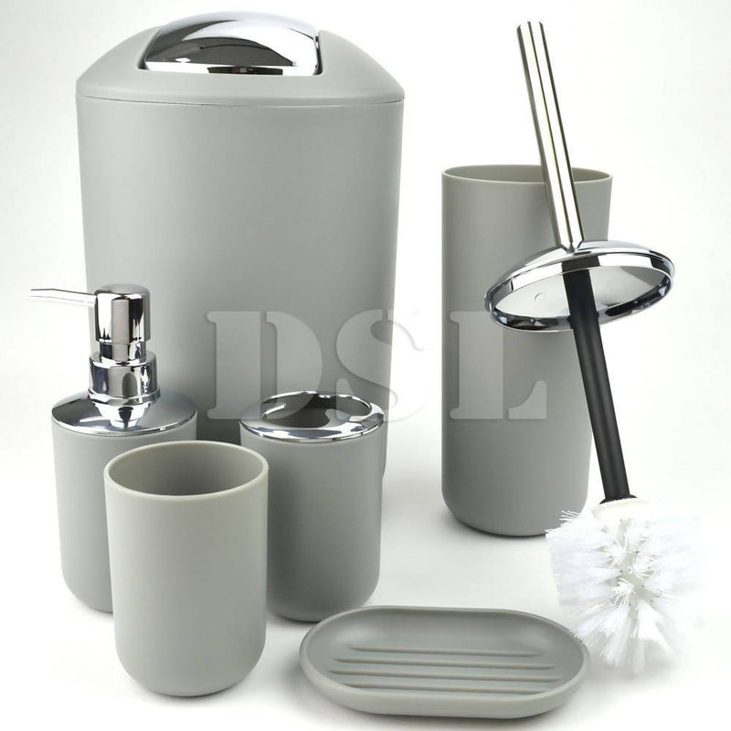 Bathroom3 Accessory Set 6 Pcs Silver - Local Kiwi Deals